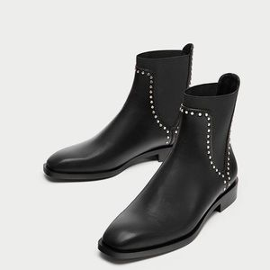 Zara Trafaluc Flat Ankle Studded Black Boots